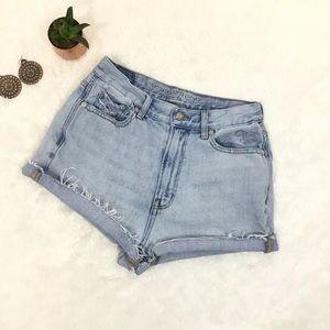 "AE  ""Mom Jean"" High Rise Cutoff Denim Shorts"